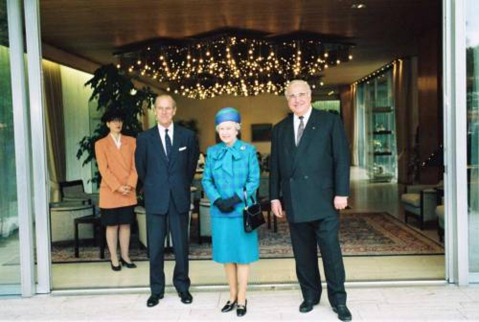 Prince Philip, Queen Elizabeth II and the ex-Chancellor of Germany Helmut Kohl front of the bungalow of the Chancellor in Bonn.